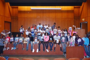 Students, ages 8-14 are pictured with Authors Sharon Draper, Earl Sewell and Bernard Turner during the Back to School Readers' Workshop.