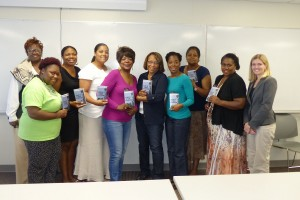 Workshop participants pictured (l-r): Beverly Tatum, Beethoven Elementary School, Brittany Ware, IPL Staff, Lauren Norwood, Principal, and Jennifer Sanders, Assistant Principal, JRD Academy, Retired Teacher, Carolyn Clark, Author Sharon Draper, Carnedra Clark, Rochelle President-Chapman, James Madison Elementary, Parent Josephine Norwood and Molly McCaughey, IIT.